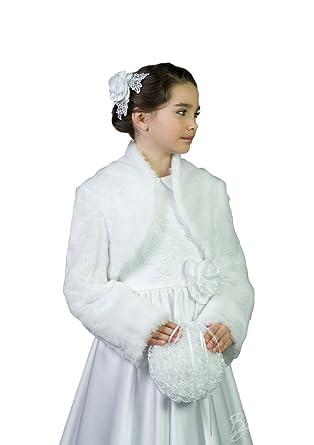 bolro veste pour fillettes jettant ptales de fleurs pendant la crmonie de mariage ou de communion immitation fourrure manche longue 2 13 ans amazonfr - Bolero Fillette Pour Mariage