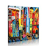 murando handgemalte Bilder Stadt 80x80cm Gemälde 1 tlg 5059