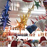 MMLsure Weihnachtsdekoration,Laser fünfzackigen Stern Dekoration, liefert Atrium Decke Christbaumschmuck Fenster Papier Dreidimensionale Ornamente 1 Pc (Gold)