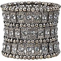 Loveangel Jewellery Women's Multilayer Crystal Stretch Bracelet 3 Row KjJti4S3