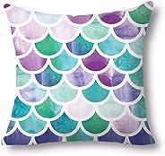 Goolsky Mermaid Decorative Throw Pillow Covers 18x18 Inch Cotton Pillowcase Ocean Theme for Kids Girls Sofa Bedroom Style E