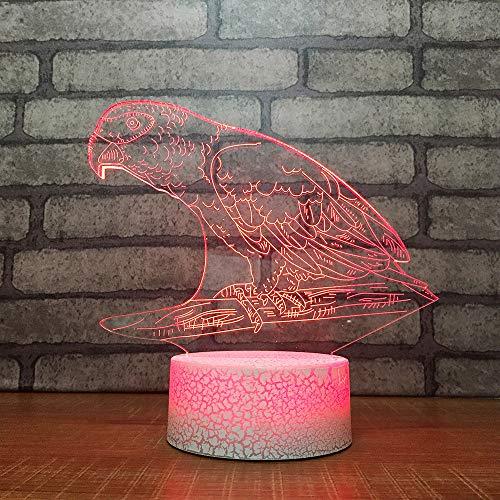 Mzdpp Kinder Geburtstag 3D Led Nachtlicht Geschenke Schöne Schlafzimmer Cartoon Papagei Modellierung Schreibtischlampe Baby Schlaf Tier Beleuchtung Dekor Dekor