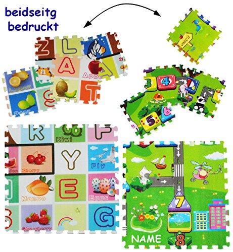 """8 tlg. Set _ Puzzle Teppich aus Moosgummi - """" 2 SEITIG - Buchstaben ABC / Alphabet & Spielstraße """" - incl. Name - 8 Matten aus Schaumstoff - zum Puzzeln / Puzzleteppich EVA - Spieleteppich Puzzlematte - Spielmatte Kinderteppich - Bodenmatte - Matte / Spielteppich - für Kinder - Puzzleteppich - Kinderspielteppich / Lernteppich - Schaumstoff / Bodenschutzmatte - Buchstabe ABC lesen lernen / Yoga Sitzmatte - Straßenteppich / Lernteppich"""
