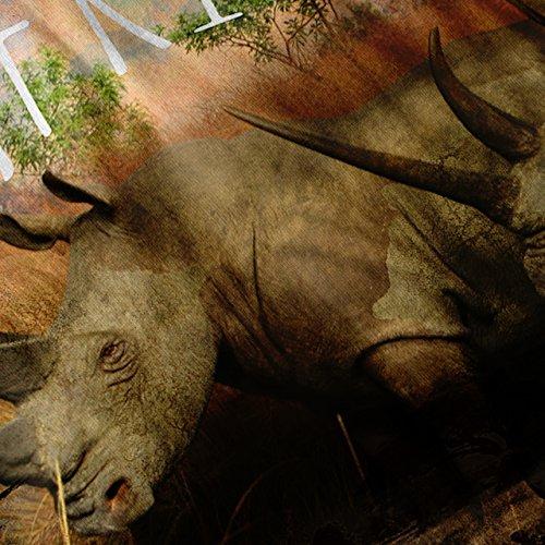 Tier Afrika Horn Natur Nashorn Safari Damen S-2XL Muskelshirt   Wellcoda Schwarz