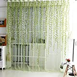 #6: Asczov 1m*2m Room Willow Curtains Blinds Voile Tulle Curtain Sheer Panel (Green)