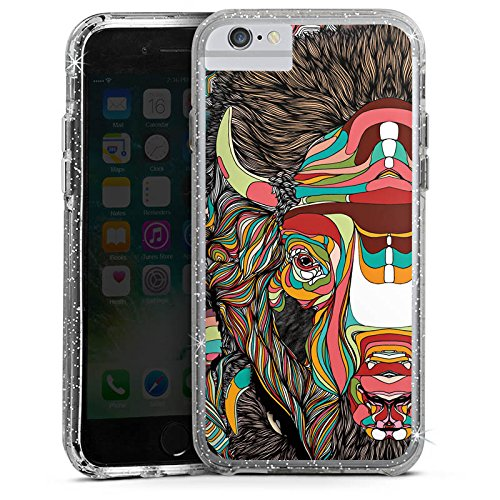 Apple iPhone 8 Bumper Hülle Bumper Case Glitzer Hülle Bison Pattern Muster Bumper Case Glitzer silber