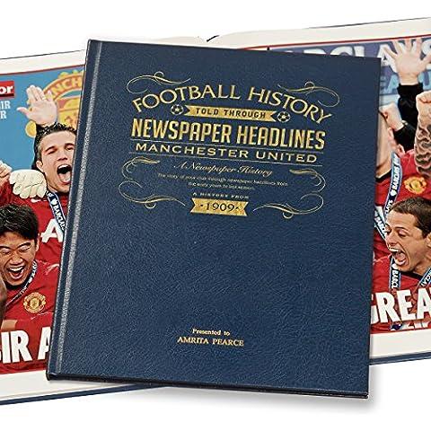 Personalizzata Manchester United giornale libro, in pelle, colore: blu