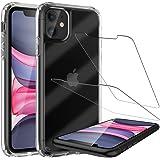 LK Coque Renforcés Compatible avec iPhone 11, 2 × Verre Trempé Protection écran, Crystal Shock-Absorption Housse, HD Transpar