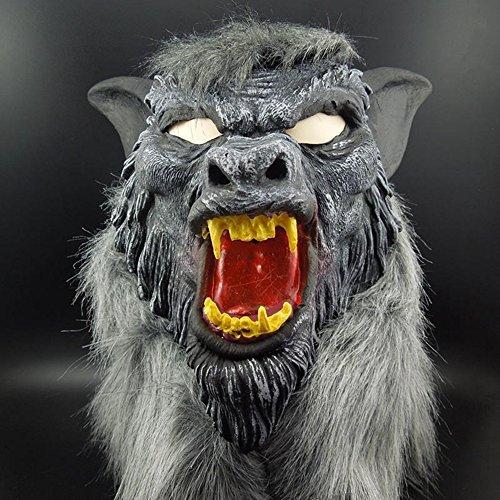 en Lustige Horror Gemaltes Gesicht Wolfskopf Maske Kopfbedeckungen (Heath Ledger-joker Make-up Halloween)