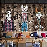 L22LW carta da parati Abstract Art Plancia Di Legno Grano Wallcloth Retrò Nostalgico Animale Graffiti Murale Negozio Di Abbigliamento Bar Sfondo Wallpaper-312 Cm(H)* 219 Cm