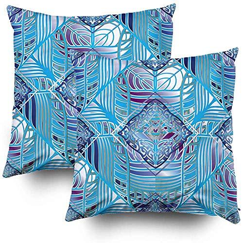 Ducan Lincoln Pillow Case 2 Stücke 18x18 Zoll Kissenbezug, Kissenbezüge Für Sofa Muster Versace 3D Abstrakt Arabisch Arabisch Hintergrund Blau Kreis Dekor Teufel Augen Squaren