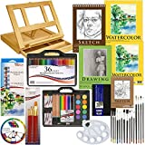 US Art Supply 124-Piece Deluxe Watercolor Painting & Sketch Drawing Set with Wood Drawer Table Easel, 12-Tubes Watercolor Colors, 9x12 & 11x14 Watercolor Acrylic Painting Paper Pads, 22 Artist Brushes, Plastic Palette with 10 Wells, Wooden Pallete, 36-Piece Premium Watercolour Pencil Set, 45-Piece Artist Pencil & Watercolor Cake Set, 9x12 Drawing Paper Pad, 9x12 & 5.5x8.5 Spiral Sketch Paper Pads, 5.5x8.5 Hardbound Sketchbook & Now Includes a FREE Color Wheel by US Art Supply