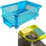 RYLAN Popular Combo Kitchen Sink Organiser & 3 in 1 Kitchen Sink Dish Rack Drainer Drying Rack Washing Basket with Tray…