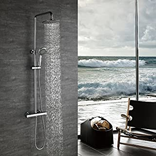 HOMELODY Shower System Thermostatic 2-Way Mixer Shower with Shower Head and Hand Held Shower 3-Function Shower System for Bath Bar Adjusable Chrome