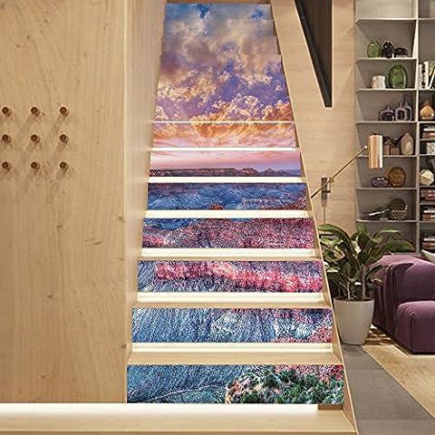 Buluke 13 pcs/kreative Heimwerker 3D SONNENUNTERGANG Grand Canyon Muster Treppe Aufkleber Set für Haus Einrichtung
