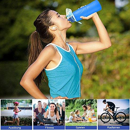 BeGreat faltbare Trinkflasche BPA-freie medizinisches Silikon Wasserflasche, tragbar, Auslaufsichere und FDA Geprüft für Outdoor, Reisen, Radfahren usw DE-0016