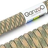 Ganzoo Corde de Parachute indéchirable paracorde 550(Manteau noyau en corde en nylon), 550lbs, longueur totale 31m (100ft) couleur: Beige/Army–Ganzoo