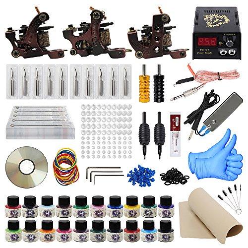 ITATOO Pro Komplette Tattoo Kits mit 3 Tätowierung Maschinengewehre 50 Tattoofarbe Nadeln 20 Tätowierung Pigment Pedal Power Switch Tattoo-Kit für Anfänger EU-Stecker (TK1000011)
