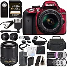 Nikon D3300 DSLR Camera With 18-55mm AF-P DX Lens (Red) + Nikon AF-S DX NIKKOR 55-200mm F/4-5.6G ED VR II Lens + Battery + Charger + Sony 128GB UHS-I SDXC Memory Card (Class 10) + Remote +Flash Bundle