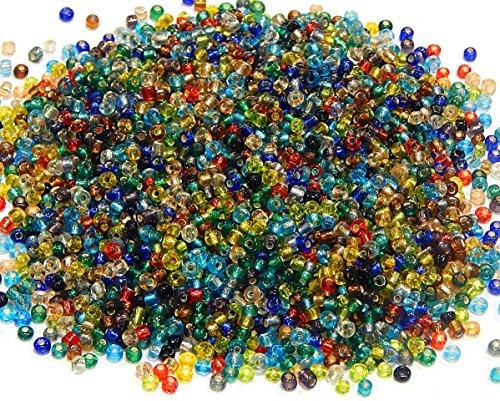 Rocailles Perlen 2mm NUR Silbereinzug Glasperlen 11/0 Bunte Mix Set Kugel Rund Mini Perlen Tiere Indianerperlen (450g)