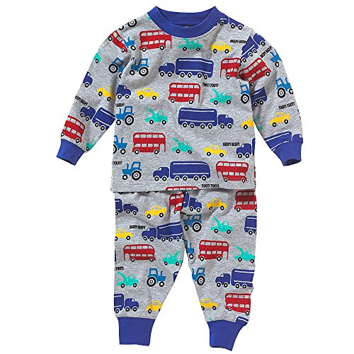 Lullaby Toddler Boys Cute Car Truck Bus Tractor Print Pyjamas