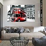 YESURPRISE Impresión En Lienzo Nuevo Para Pared Decoración Hogar Sala Cocina Dormitorio Bus Rojo Londres (sin marco o bastidor)