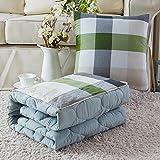 HOMEE Cotone lavabile in puro cotone Color Grid-Cuscino doppio uso da un divano da ufficio Car Afternoon Nap Trapunta climatizzata, 40 * 40, color caffè.,The Green Grid, 40 * 40
