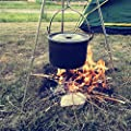 Outdoor Camping Cooking Picnic Tripod Hanging Pot Durable Portable Campfire Picnic Pot Cast Iron Fire Grill hanging tripod