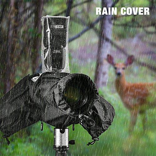 """Tycka Housse de pluie de Camera, peut être connecté à la sangle de la caméra et au flash, avec 10pcs de Papier Absorbent, imperméable à la pluie pour DSLR Canon Nikon Sony Pentax Olympus et plus (Lentilles avec capuchon de jusqu'à 10 """"de long)"""