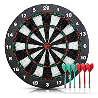 Lixada Safety Plastic Dart + 16.5 Inchs Game Dartboard Set,With 6 Bristle Darts - Staple-free Bullseye - with Rotating Number Ring - Inhouse Toy Office and Family Entertainment