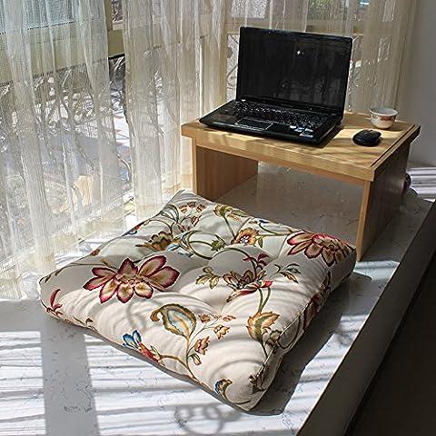 Baozengry Leinwand Sitzpolster-Fenster Zeigen Pastorale Sofakissen Mat Multicolor Verdickte Komfortable Futon, 52 * 52 Cm, (Anzeige Mat)