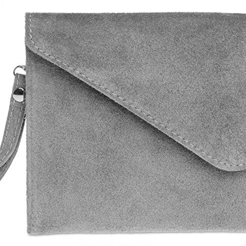 CASPAR TL708 Sac à main enveloppe en daim / clutch pour femme gris clair