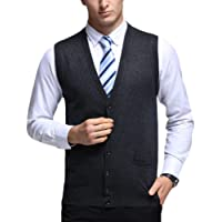 Shaoyao Mens Knitted Waistcoat Full Front Button Closure V Neck Top Vest