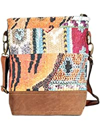 Multi Color Leather And Rug Tote Shoulder Bag Stylish Shopping Casual Bag Foldaway Travel Bag - B07D3TWF5K