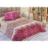 Algodón Blanco Xeraco - Colcha bouti estampada, para cama de 90 cm, 180 x 270 cm, 1 funda de cojín, 60 x 60 cm, color rojo