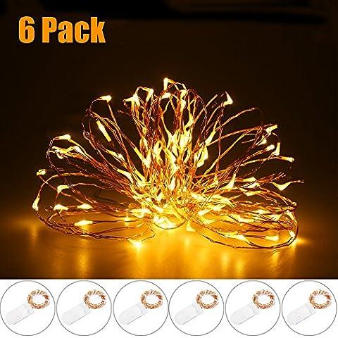 RECESKY Starry luci stringa, 6 confezioni 20 LED 2M, a batteria luci stringa di rame, illuminazione di Natale per la casa,, sposa, decorazioni di festa al coperto (bianco caldo)