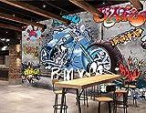 WH-PORP Kundenspezifische Tapete 3D Motorrad-Straßen-Graffiti, die dekorative Hintergrund-Wand 3D malen-300cmX210cm
