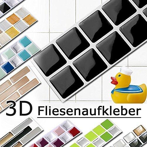 7er Set 25,3 x 3,7 cm schwarz Fliesenaufkleber Design 4 I Mosaik 3D Aufkleber Küche Bad Fliesendekor selbstklebend Grandora W5288
