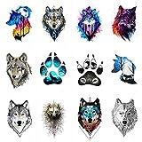 WYUEN 12 Teile/los Wolf Temporäre Tattoo Aufkleber für Frauen Männer Mode Körperkunst Erwachsene Wasserdichte Hand Gefälschte Tatoo 9,8X6 cm W12-01