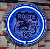 NEONUHR - ROUTE 66 MOTORRAD-MOTORCYCLE AMERICA´S HIGHWAY WANDUHR BELEUCHTET MIT BLAUEN NEON RING!