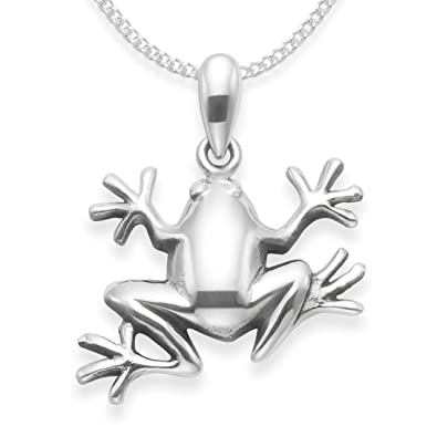 Sterling silver frog necklace on silver chain frog pendant sterling silver frog necklace on silver chain frog pendant size 16 x 12mm mozeypictures Image collections