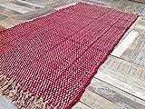 Second Nature Dick Flachgewebe rot gestreift Chindi Flickenteppich aus Baumwolle 75cm x 135cm