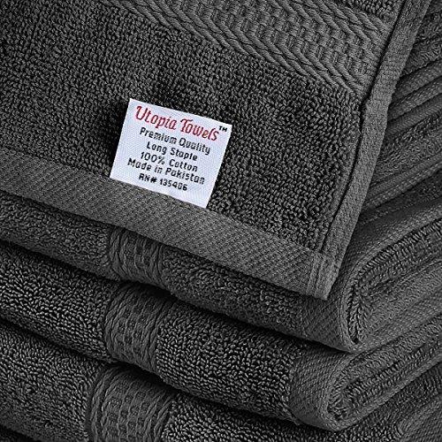 comprare on line Set Premium di Asciugamani 8 Pezzi (Grigio); 2 Asciugamani da Bagno, 2 Asciugamani e 4 Salviette - Cotone - Qualità da Hotel, Super Morbida ed Altamente Assorbente da Utopia Towels prezzo