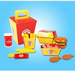 Emob Wooden Junior Burger Food Box Play Set (26 Pieces)