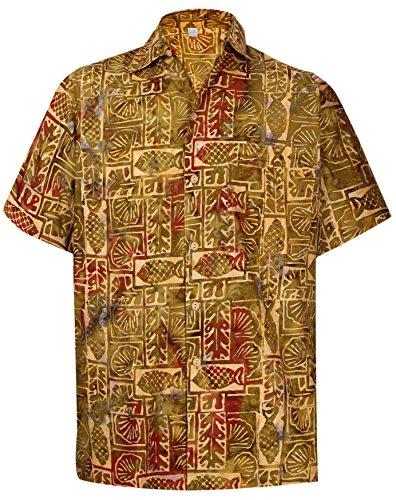 *la leela* albero aloha tasto hawaiano uomini del cotone giù camicia tropicale s d'oro