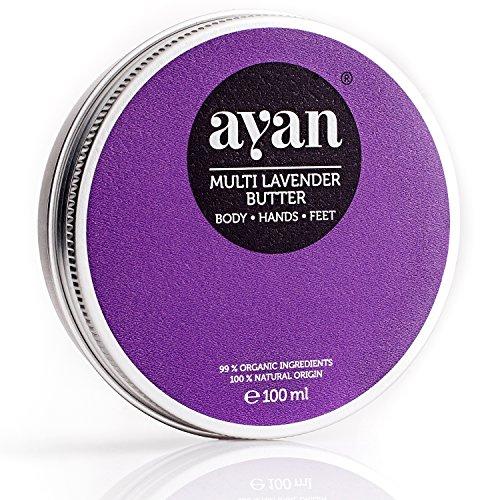 AYAN Naturkosmetik Body Butter Lavendel  Bodylotion Pflegecreme für trockene Haut  BIO Sheabutter Kokosöl Bienenwachs  100ml