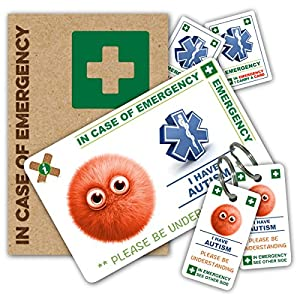 CHILD AUTISM In Case of Emergency (I.C.E.) Card Pack with Key Rings & Stickers from ICEcard. Created Specifically for Autistic Children, this wallet size card has a WRITABLE reverse to carry Emergency Contact & Medical / Medication Information. by ICEcard