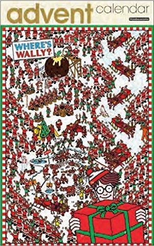 Advent Calendar - Where's Wally - Lots Of Santas - Glitter Varnish Finish
