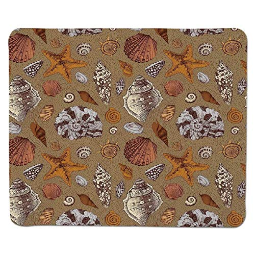 [Ozean, Unterwasser Starfish Shell Mollusk Seaurchin Seepferdchen Pearl Illustration, Ingwer Zimt Kakao] genäht Rand Nicht Gleiten Gummi