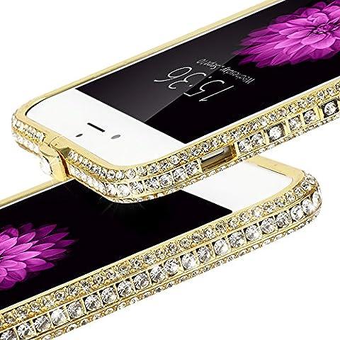 Vandot iPhone 6 Plus Protección en frontera de Diamante Resistente a Arañazos de Alta Calidad de Aluminio Metal Bumper para iPhone 6s Plus 5.5 pulgadas - Oro-Plata